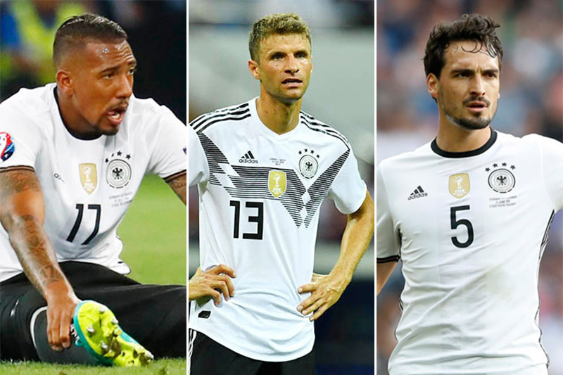 Germany's defender Jerome Boateng (left), Mats Hummels (centre) and Thomas Mueller. Photos: Reuters