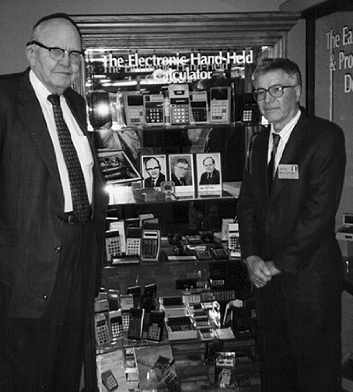 This 1997 photo taken by Phyllis Merryman shows Jack Kilby and Jerry Merryman, right, at the American Computer Museum in Bozeman, Montana. Photo: AP