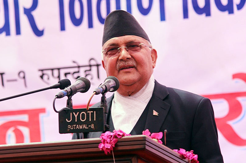 Prime Minster KP Sharma Oli speaks at a programme in Butwal, on Friday, March 22, 2019. Photo: RSS