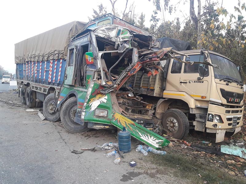 Wreckage two trucks pictured after collision at  Kharkatta Forest, near Kawasoti, in Nawalpur, on Sunday, March 17, 2019. Photo: Shreeram Sigdel/ THT