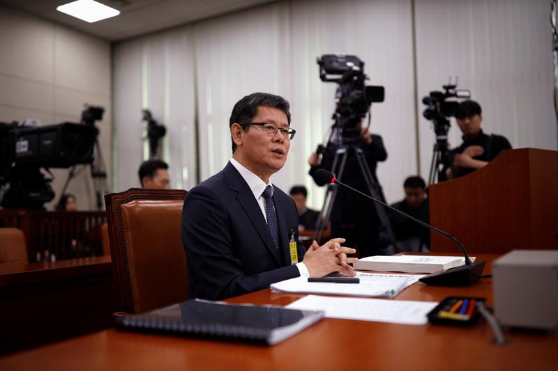 Kim Yeon-chul, a nominee for South Korean Unification Minister, speaks during a confirmation hearing for the post of Unification Minister at the National Assembly in Seoul, South Korea, March 26, 2019.  Photo: Reuters
