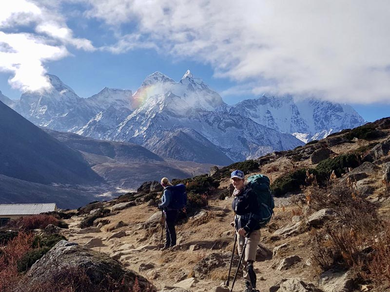 Former US Marine Kirstie Ennis (right) at Everest Base Camp in November, 2017. Photo: Kirstie Ennis twitter