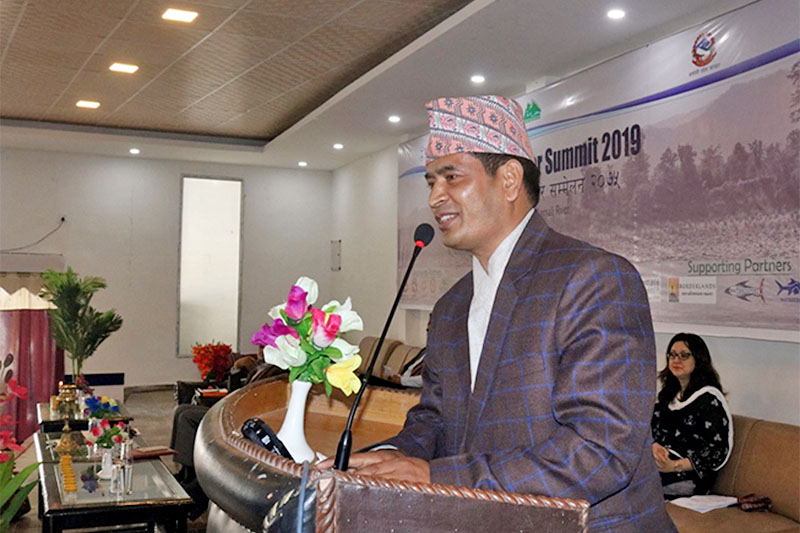 Karnali Province Chief Minister Mahendra Bahadur Shahi speaks at 'Third National River Summit' organised by Nepal River Conservation Trust in Surkhet, on Thursday, March 28, 2019. Photo: RSS