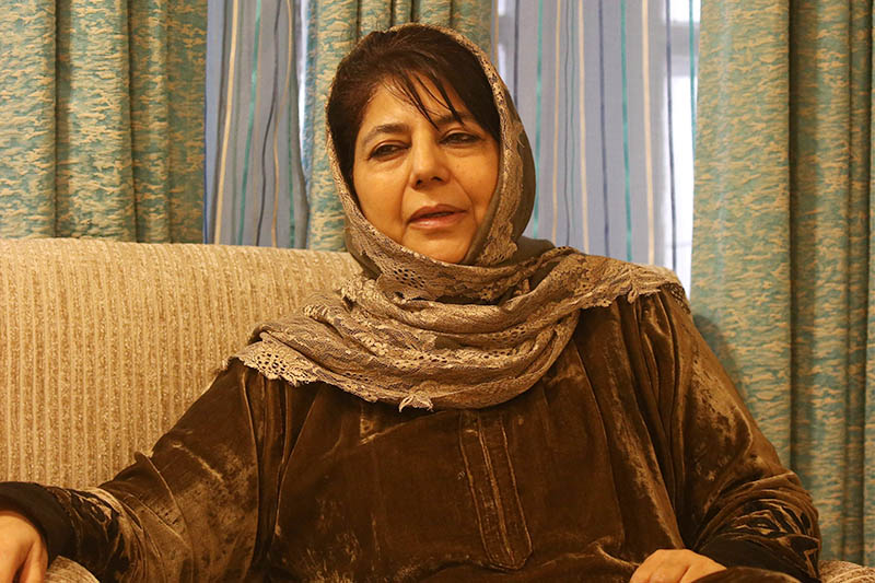 Former Jammu and Kashmir Chief Minister Mehbooba Mufti speaks during an interview with Reuters at her residence in Srinagar March 8, 2019. Photo: Reuters