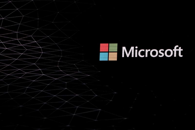 The Microsoft logo is pictured ahead of the Mobile World Congress in Barcelona, Spain February 24, 2019. Photo: Reuters