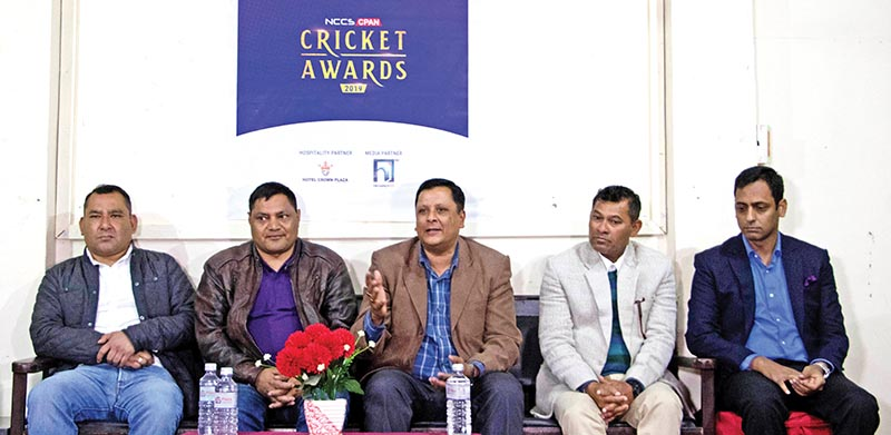 Technical Committee members with other officials at a press meet of the NCCS CPAN Cricket Awards in Kathmandu on Sunday. Photo: THT