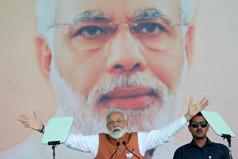 India's Prime Minister Narendra Modi gestures as he addresses an election campaign rally in Meerut in the northern Indian state of Uttar Pradesh, India, March 28, 2019. Photo: Reuters