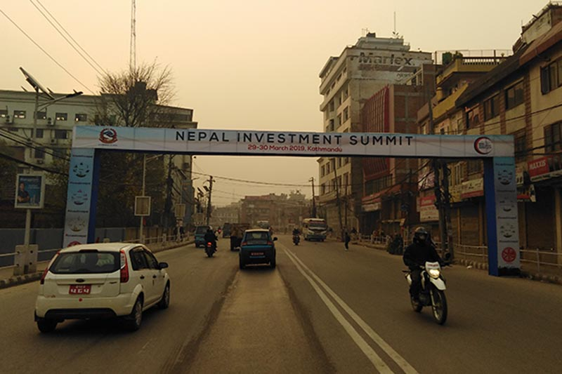 A banner of upcoming Nepal Investment Summit pictured at Tripureshor, in Kathmandu, on Monday, March 25, 2019. Photo: Sandeep Sen/THT