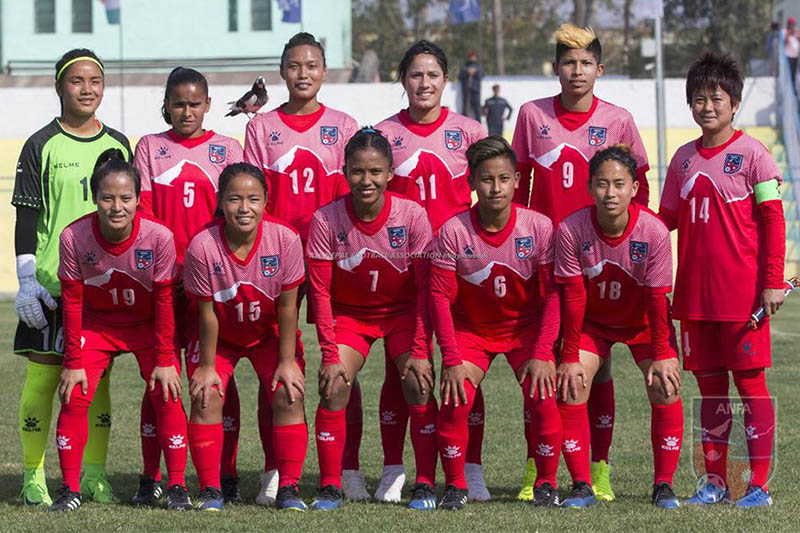 Nepal women's national football team players pose for a portrait prior to their game. Courtesy: ANFA/Facebook