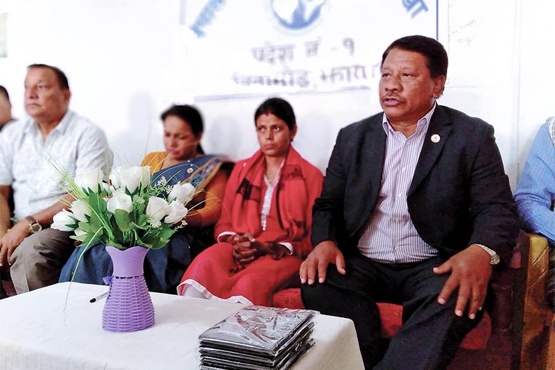 Nepali Congress leader Prakashman Singh addressing press meet organised by Nepal Press Union, in Birtamod, Jhapa on Monday, March 25, 2019. Photo: RSS