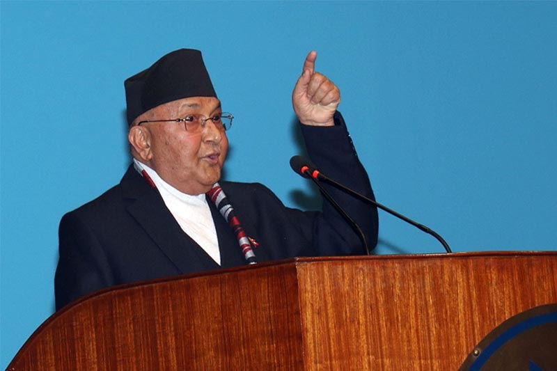 Prime Minister KP Sharma Oli addressing the last meeting of the Federal Parliamentu2019s winter session, in Kathmandu, on Sunday, March 24, 2019. Photo: RSS