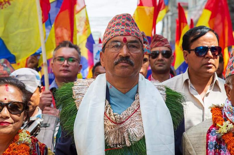 Rastriya Prajatantra Party Chair Kamal Thapa at the conclusion ceremony of the party's Rastriya Swabhiman Yatra (National Pride Rally), in Kathmandu, on Friday, March 15, 2019. Photo: Twitter