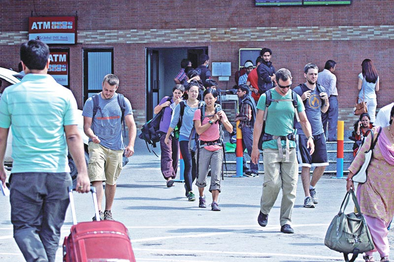 File - Tourists arriving in Nepal, at Tribhuvan International Airport in Kathmandu, on March 12, 2017. Photo: THT