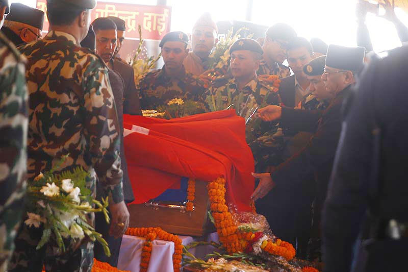 Nepal Communist Party (NCP) Co-chair Pushpa Kamal Dahal pays final tributes to Air Dynasty chopper crash victims in Tundikhel, Kathmandu, on Friday, March 1, 2019. Photo: Skanda Gautam/THT