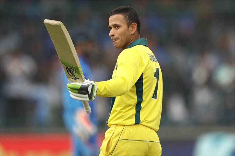 Australian opening batsman Usman Khawaja acknowledges the crowd after scoring a ton against India in last match of the five-game series at Firoz Shah Kotla Stadium in New Delhi, on Wednesday, March 13, 2019. Courtesy: ICC