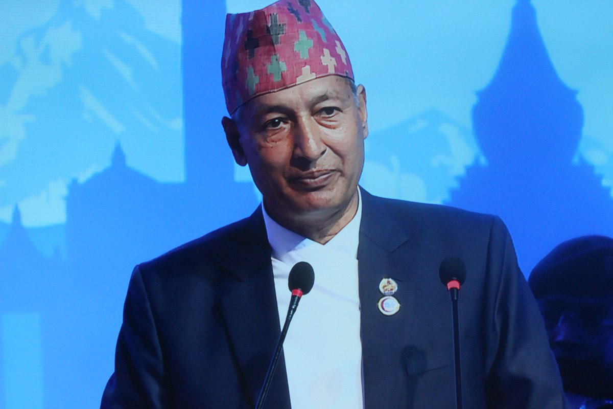 Minister for Finance and Convener Yubaraj Khatiwada welcomes foreign delegates participating the two-day Nepal Investment Summit  2019, in Kathmandu, on Friday, March 29, 2019. Photo: NIS