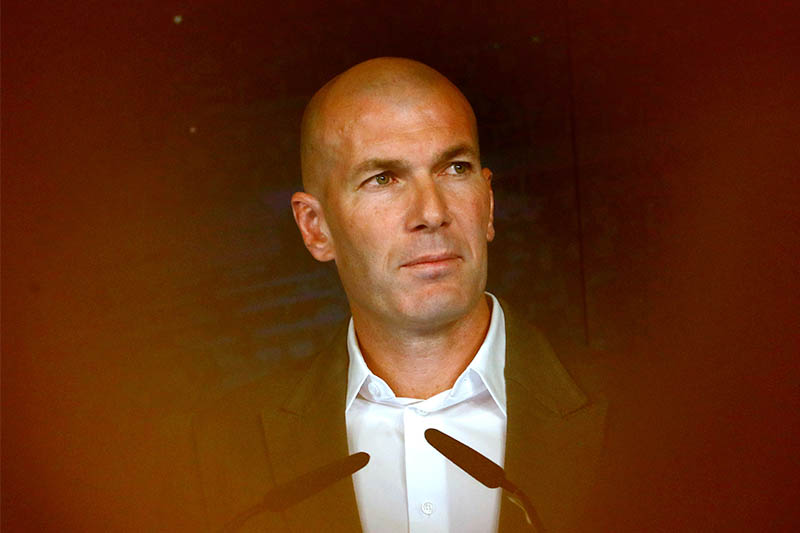 New Real Madrid coach Zinedine Zidane during the press conference. Photo: Reuters