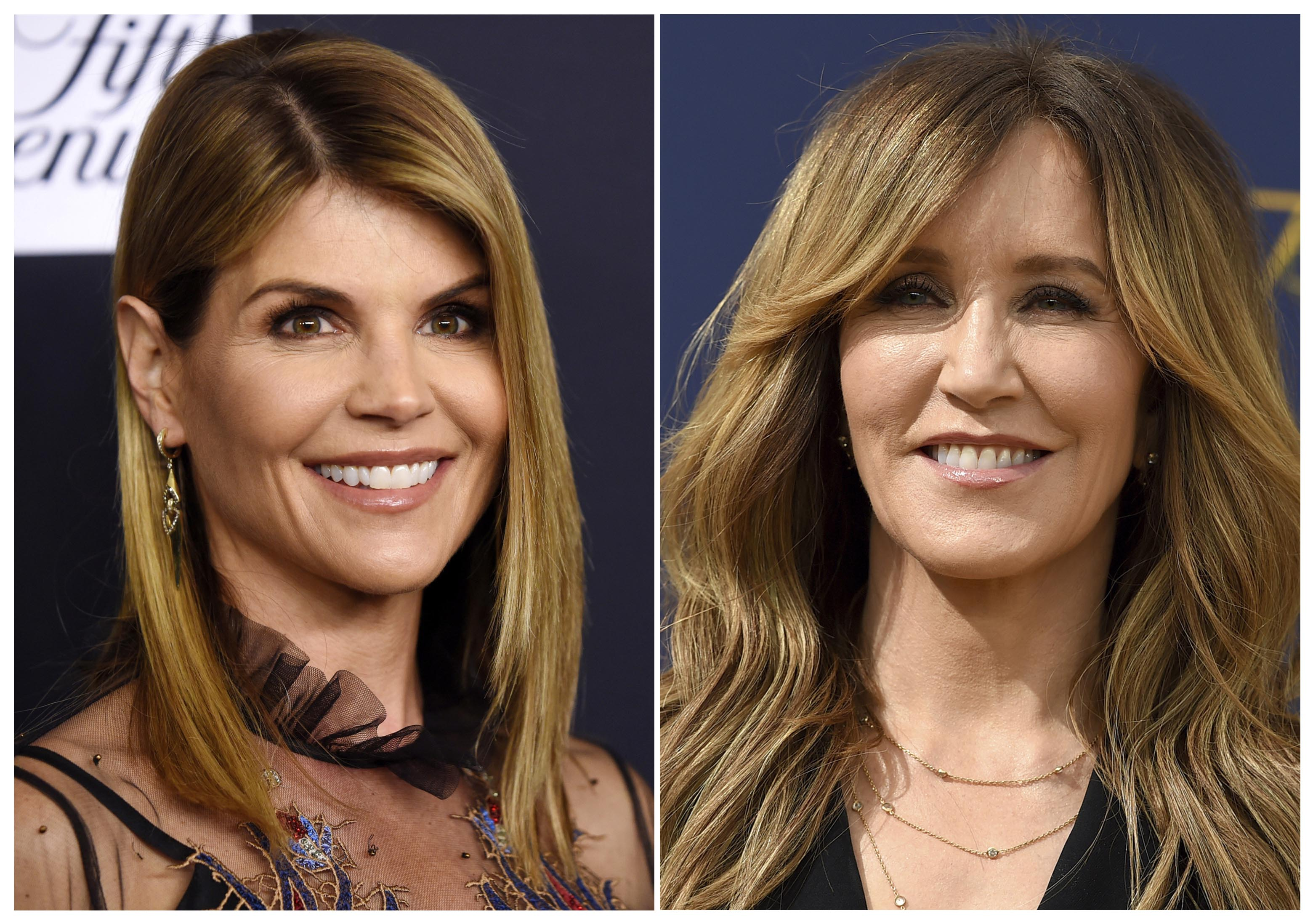 This combination photo shows actress Lori Loughlin at the Women's Cancer Research Fund's An Unforgettable Evening event in Beverly Hills, Calif., on Feb. 27, 2018, left, and actress Felicity Huffman at the 70th Primetime Emmy Awards in Los Angeles on  Sept. 17, 2018. Photo: AP