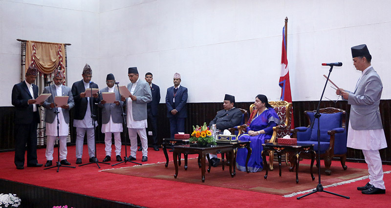 Chief Justice Cholendra Shamsher JB Rana administering the oath of office and secrecy to the newly-appointed chairs of five different constitutional commissions, in the presence of President Bhandari and Vice President Nanda Bahadur Pun, at a special ceremony organised in Shital Niwas, Kathmandu, on Thursday, March 21, 2019. Photo: RSS