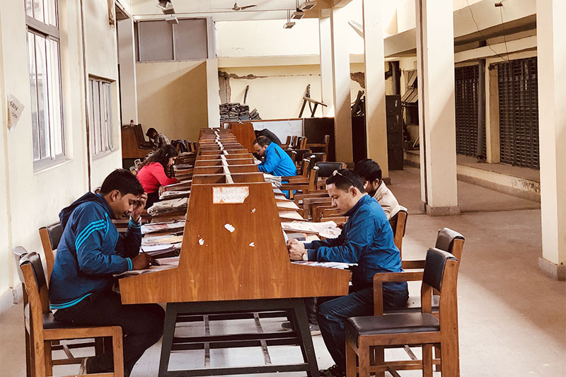 Students studying in the library. Photo: Mausam Shah Nepali/THT