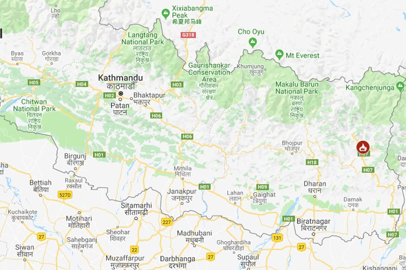 Panchthar Forest fire. Photo: Goolge Maps