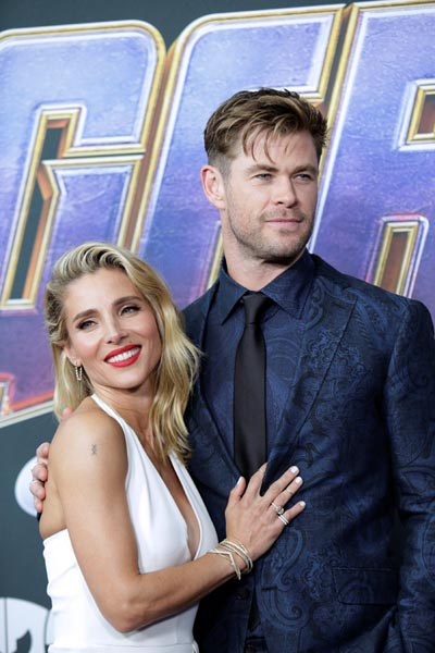 Cast member Chris Hemsworth and wife Elsa Pataky at the world premiere of movie Avengers: Endgame in Los Angeles, California, US, April 22, 2019. Photo: Reuters