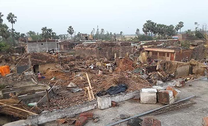 A view of human settlement damaged by the storm accompanied by hailstorms and rain in Pheta area of Bara district, on Monday, April 1, 2019. Photo: Ram Sarraf/THT