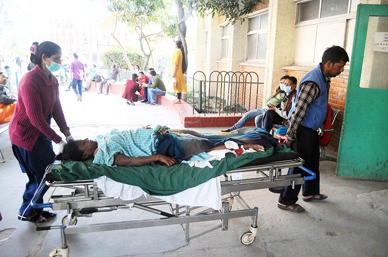Gita Devi Patel, who was injured in the storm that wreaked havoc in Bara and was referred to Tribhuvan University Teaching Hospital, being taken for CT scan before surgery, on Monday, April 1, 2019. Photo: Balkrishna Thapa Chhetri/THT