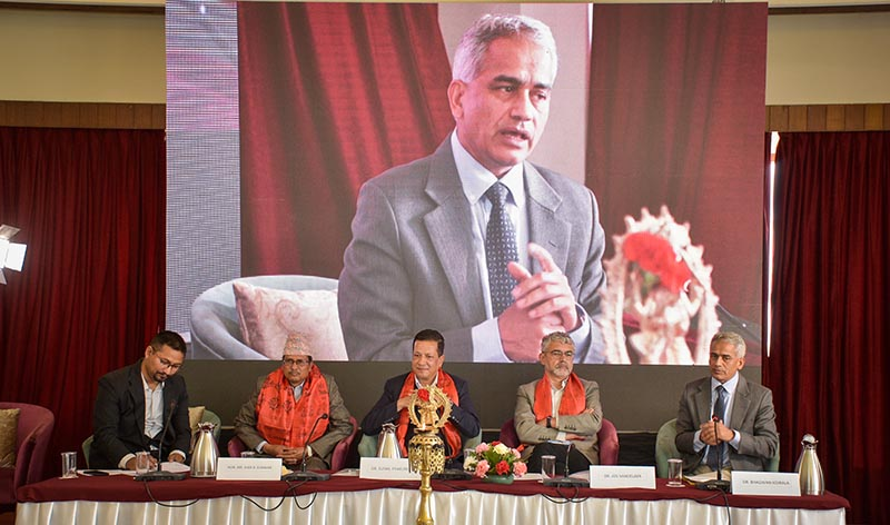 Bhagawan Koirala speaking at a discussion on Ten Years of Public-private Partnership in Healthcare, in Lalitpur, on Sunday, April 7, 2019. Photo: Naresh Krishna Shrestha/THT