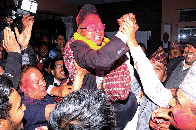 National Lawyersu2019 Association candidate Chandeshwar Shrestha celebrating victory with his well wishers on being elected the president of NBA, in Kathmandu, on Thursday, April 4, 219. Photo: RSS