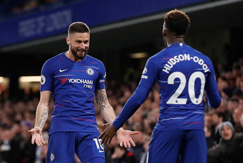 Chelsea's Olivier Giroud celebrates scoring their first goal during the Premier League match between Chelsea and Brighton & Hove Albion, at Stamford Bridge, in London, Britain, on April 3, 2019. Photo: Action Images via Reuters
