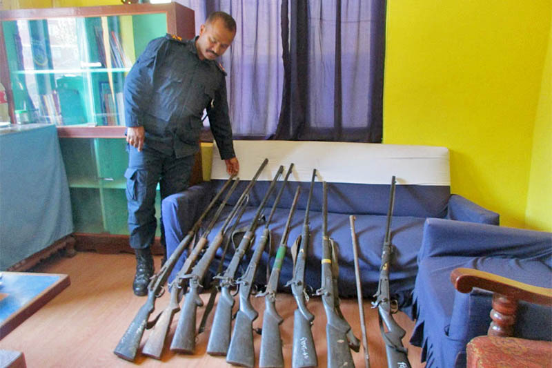 Police dislpay all the surrendered weapons in Taplejung District Police Office, on Monday, April 22, 2019. Photo: Laxmi Gautam/THT