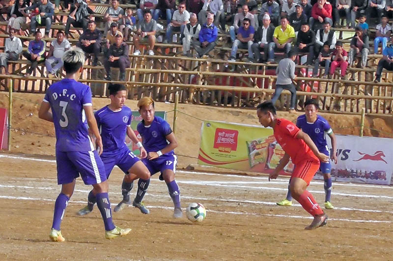Players in action during Panchthar Gold Cup in Phidim on Friday, April 12, 2019. Photo: Laxmi Gautam/THT