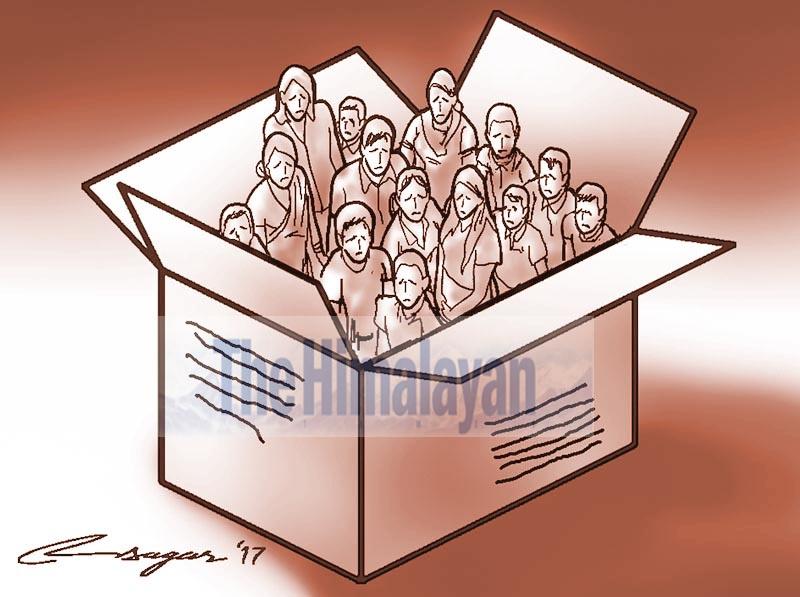 Human trafficking. Illustration: Ratna Sagar Shrestha/THT