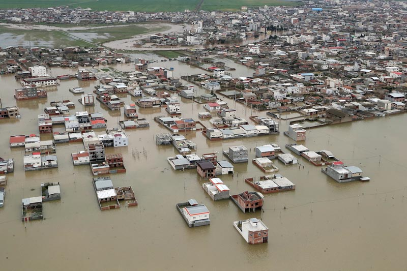 An aerial view of flooding in Golestan province, Iran March 27, 2019. Photo: Official Iranian President website/Handout via Reuters