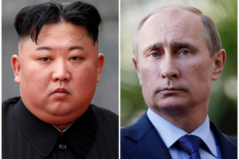 FILE: A combination of file photos shows North Korean leader Kim Jong Un attending a wreath laying ceremony at Ho Chi Minh Mausoleum in Hanoi, Vietnam March 2, 2019 and Russia's President Vladimir Putin looking during a joint news conference with South African President Jacob Zuma after their meeting at the Bocharov Ruchei residence in the Black Sea resort of Sochi, Krasnodar region, Russia, May 16, 2013. Photo: Reuters/file
