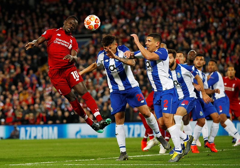 Liverpool's Sadio Mane heads at goal during the Champions League Quarter Final First Leg, Champions League Liverpool and FC Porto, at Anfield, in Liverpool, Britain, April 9, 2019. Photo: Reuters