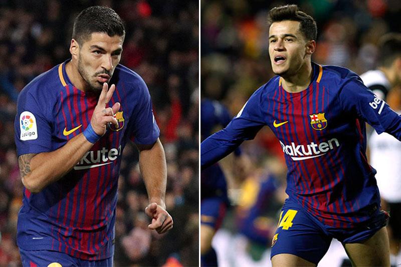 Barcelona players Luis Suarez (left) and Philippe Coutinho. Photos: Reuters