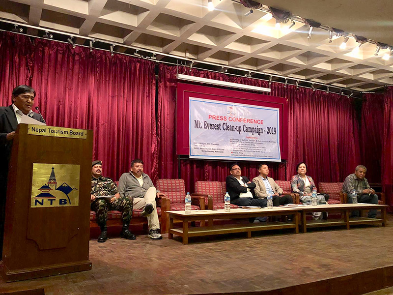 Press meet on Mt Everest Clean-up Campaign, in Kathmandu, on Thursday, April 11, 2019. Photo: THT