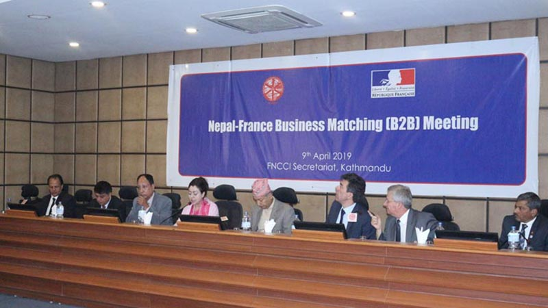 Nepal-France Business Forum organised by French Embassy in collaboration with the Federation of Nepalese Chambers of Commerce and Industry (FNCCI), at the embassy in Kathmandu, on Tuesday, April 9, 2019.  The event was organised to enhance trade, commerce, and investment relations between Nepal and France. Photo courtesy: FNCCI