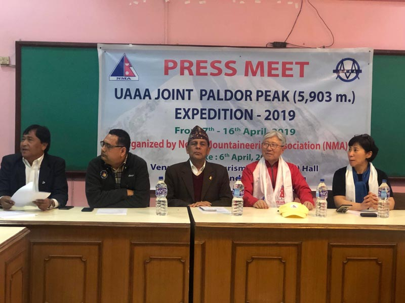 Press meet on Paldor Peak expedition organised by Nepal Mountaineering Association, on Saturday, April 6, 2019. Photo: THT