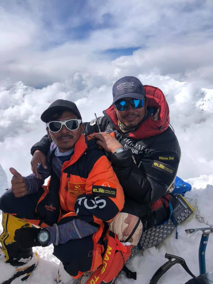 Nirmal Purja and Mingma David at the Annapurna summit. Photo: Hakon Asvang/Facebook