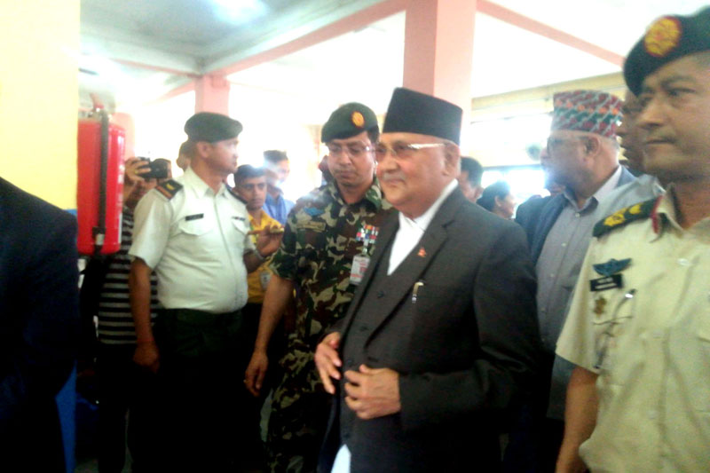 Prime Minister KP Sharma Oli at Bhadrapur Airport in Jhapa, on Monday, April 1, 2019. Photo: RSS