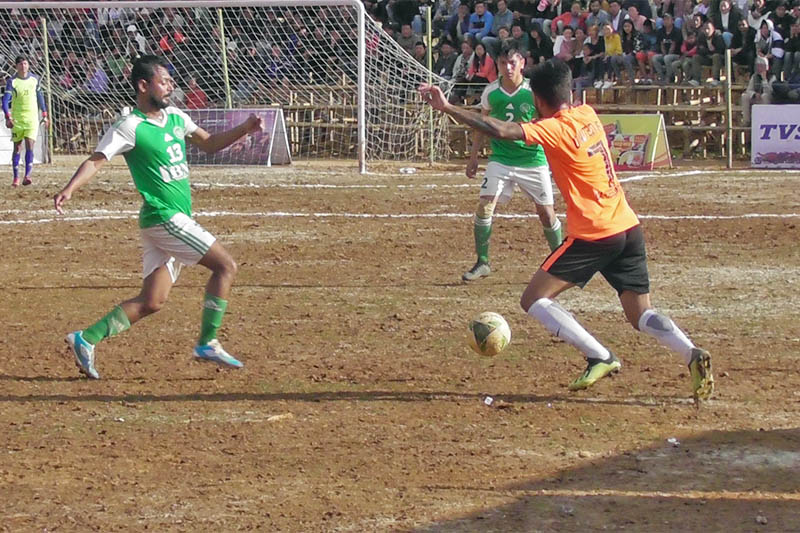 Players in action during Panchthar Gold Cup in Phidim, on Tuesday, April 09, 2019. Photo: Laxmi Gautam/THT