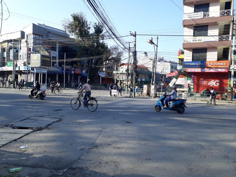 Srijana Chok in Pokhara looks deserted owing to the Netra Bikram Chand (Biplav)-led bandh, on Thursday morning, April 18, 2019. Photo: Rishi Ram Baral/THT