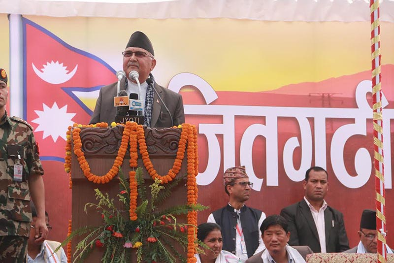 Prime Minister KP Sharma Oli addressing a programme to commemorate Jitgadhi victory, in Butwal, on Saturday. Photo: THT