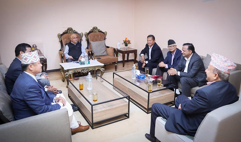 Prime Minister KP Sharma Oli meeting chief ministers of the seven provinces at his official residence in Baluwatar, Kathmandu, on Thursday, April 4, 2019. Photo: RSS