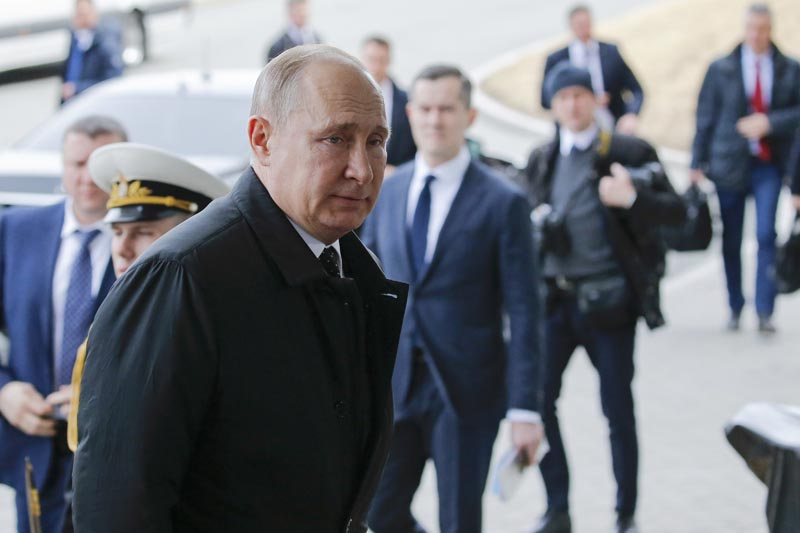 Russian President Vladimir Putin arrives to meet with North Korea's leader Kim Jong Un in Vladivostok, Russia, Thursday, April 25, 2019. Photo: AP