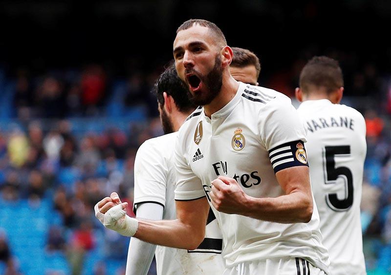 Real Madrid's Karim Benzema celebrates scoring their second goal during the La Liga Santander match between Real Madrid and Eibar, at Santiago Bernabeu, in Madrid, Spain, on April 6, 2019. Photo:  Reuters