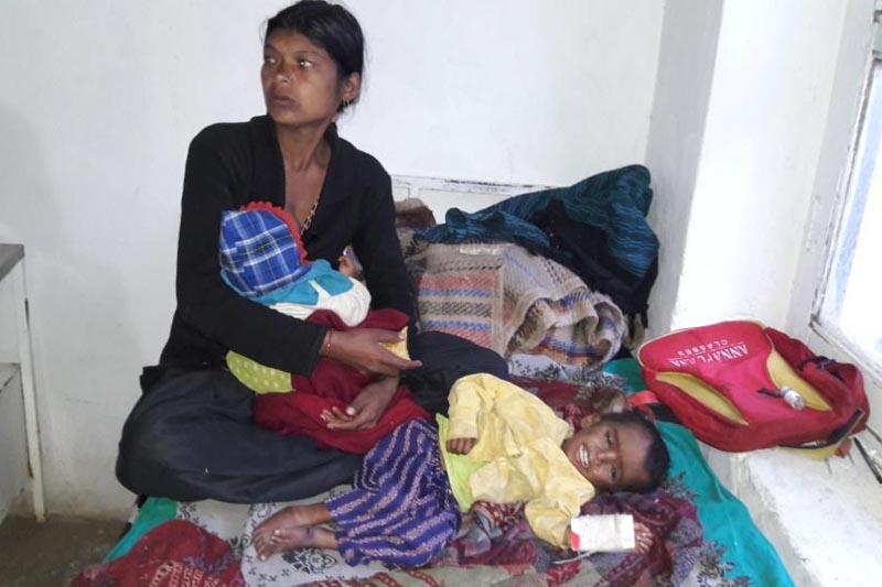 In the picture, a child of Pandusen, Budhinanda Rural Municipality-9 is seen severely suffering from malnutrition.